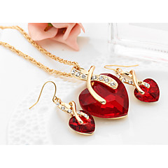 cheap Jewelry Sets-Women's Crystal Synthetic Diamond Jewelry Set - Crystal Heart, Love Ladies, European, Elegant, Bridal Include Drop Earrings Pendant Necklace Red / Green / Blue For Wedding Party Gift Daily Casual