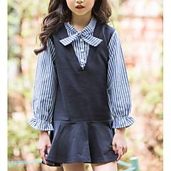 baratos Roupas de Meninas-Infantil Para Meninas Sólido / Listrado Manga Longa Vestido