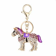baratos Chaveiros-Cavalo Chaveiro Roxo / Azul / Rosa claro Irregular, Animal Zircão, Liga Desenho, Doce Para Diário / Encontro