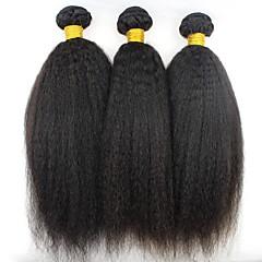 cheap Hair Extensions-3 Bundles Brazilian Hair kinky Straight Human Hair Natural Color Hair Weaves / Hair Bulk / Bundle Hair / Human Hair Extensions 8-28 inch Natural Color Human Hair Weaves Extention / Best Quality / Hot