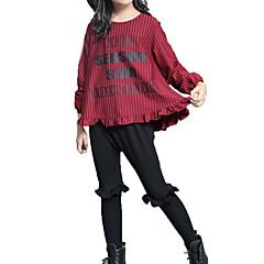 baratos Roupas de Meninas-Infantil Para Meninas Listrado Manga Longa Conjunto