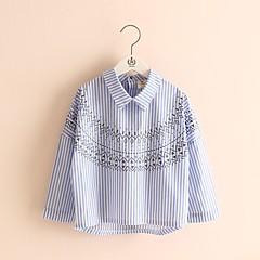 billige Pigetoppe-Børn Pige Stribet / Trykt mønster Langærmet Skjorte