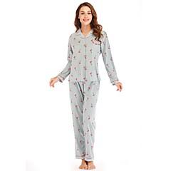 billige Moteundertøy-Dame Store størrelser Dyp V Dress Pyjamas - Geometrisk, Trykt mønster