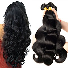 cheap Hair Extensions-6 Bundles Peruvian Hair Wavy 8A Human Hair Natural Color Hair Weaves / Hair Bulk Bundle Hair One Pack Solution 8-28 inch Natural Color Human Hair Weaves Best Quality For Black Women Human Hair