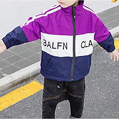 billige Jakker og frakker til drenge-Børn Drenge Basale Trykt mønster / Farveblok Langærmet Bomuld / Polyester Jakke og frakke Rød