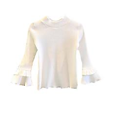 billige Sweaters og cardigans til piger-Børn / Baby Pige Ensfarvet Langærmet Trøje og cardigan