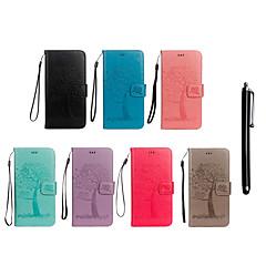 billige Telefoner og nettbrett-Etui Til Sony Xperia XZ Premium / Xperia XZ1 Compact Lommebok / Kortholder / med stativ Heldekkende etui Ugle / Tre Hard PU Leather til Xperia XZ2 Compact / Xperia XZ2 / Xperia XZ1 Compact