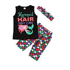 billige Tøjsæt til piger-Børn Pige Ensfarvet / Prikker / Geometrisk Uden ærmer Tøjsæt