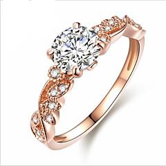 billige Motering-Dame Kubisk Zirkonium Elegant Forlovelsesring - Blomst Stilfull, Søt, Elegant 6 / 7 / 8 / 9 Rose Gull Til Ut på byen Valentine