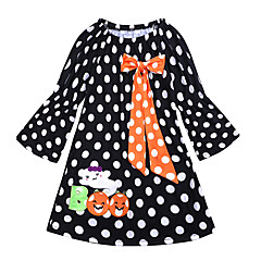 baratos Roupas de Meninas-Infantil / Bébé Para Meninas Poá / Retalhos Manga Longa Vestido