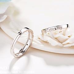 billige Motering-Dame Kubisk Zirkonium Klassisk Elegant Ring Åpne Ring - Sølvplett Bokstaver Enkel, Grunnleggende, Mote Justerbar Sølv Til Stevnemøte Valentine