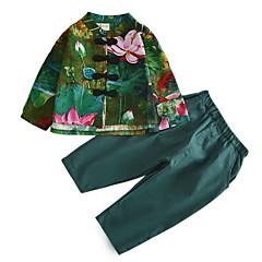 billige Tøjsæt til drenge-Børn Drenge Basale / Kineseri Blomstret Langærmet Bomuld Tøjsæt Grøn