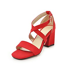 4b7755d5e2b8 Women s Strappy Stacked Heels PU(Polyurethane) Summer Casual   Minimalism Sandals  Chunky Heel Open Toe Gray   Red   Pink