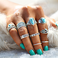 billige Motering-Par Turkis Retro Ring / Nail Finger Ring / Midi Ring - Blad Formet, Hjerte, Blomst Statement, Bohemsk, Punk Sølv Til Aftenselskap / Karneval / 10pcs