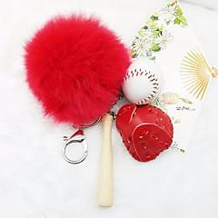 baratos Chaveiros-Chaveiro Laranja / Vermelho / Khaki Forma Geométrica Pêlo de Coelho, Liga Básico, Colorido Para Diário / Para Noite