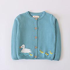 billige Sweaters og cardigans til piger-Børn Pige Jacquard Vævning Langærmet Trøje og cardigan