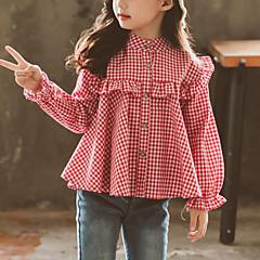 baratos Roupas de Meninas-Infantil Para Meninas Xadrez Manga Longa Camisa