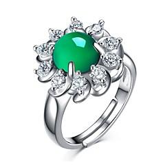 billige Motering-Dame Agat Retro Ring - S925 Sterling Sølv Vintage, Elegant Justerbar Grønn Til Fest / Gave