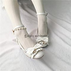billige Lolitasko-Sweet Style Elegant Blokker hælen Ensfarget Sløyfeknute 4.5 cm CM Blæk Blå / Rød / Mørkegrønn Til PU Halloween-kostymer
