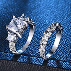 billige Motering-Dame Ring Ring Set - Platin Belagt, Fuskediamant Kjærlighed, Bølge Romantikk, Mote, Fransk 6 / 7 / 8 / 9 / 10 Sølv Til Fest Engasjement / 2pcs