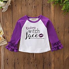 billige Babyoverdele-Baby Pige Aktiv / Basale Daglig / Ferie Trykt mønster Drapering Langærmet Normal Polyester / Spandex T-shirt Lilla