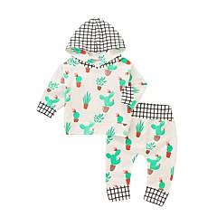 billige Sett med babyklær-Baby Pige Aktiv / Basale Jul / Daglig / Sport Trykt mønster Langærmet Lang Bomuld / Polyester Tøjsæt Hvid 100
