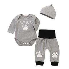 billige Babytøj-Baby Pige Aktiv / Basale Daglig / Sport Trykt mønster Langærmet Lang Bomuld / Polyester Tøjsæt Grå