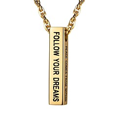 お買い得  メンズネックレス-男性用 スタイリッシュ ペンダントネックレス  -  ステンレス鋼 ファッション ゴールド, ブラック, シルバー 55 cm ネックレス ジュエリー 1個 用途 贈り物, 日常