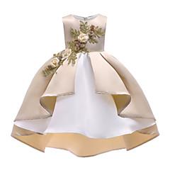 billige Pigekjoler-Børn Pige Vintage / Aktiv Jul / Fest / Ferie Ensfarvet / Blomstret Krøllede Folder / Net Uden ærmer Asymmetrisk Polyester Kjole Beige