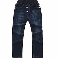 billige Drengebukser-Baby Drenge Basale Geometrisk Bomuld Jeans Navyblå 110