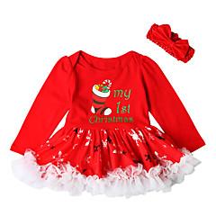 رخيصةأون فساتين البيبي-فستان قطن فوق الركبة كم طويل طباعة مناسب للحفلات رياضي Active / أساسي للفتيات طفل