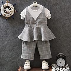billige Sett med babyklær-Baby Pige Ternet Kortærmet Tøjsæt