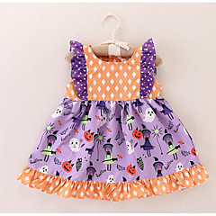 billige Babytøj-Baby Pige Prikker / Trykt mønster Uden ærmer Kjole