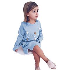 billige Pigekjoler-Børn Pige Vintage / Sød Skole / I-byen-tøj Bogstaver Delt Langærmet Over knæet Bomuld / Akryl Kjole Lyserød