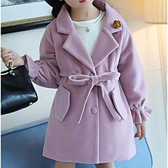 billige Jakker og frakker til piger-Børn Pige Ensfarvet Langærmet Jakke og frakke