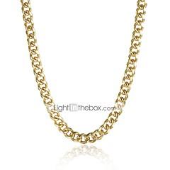 Χαμηλού Κόστους Κολιέ με Αλυσίδα-Ανδρικά Κλασσικό Κολιέ με Αλυσίδα / Κορδόνι κολιέ - Επιχρυσωμένο Απλός, Κλασσικό Απίθανο Χρυσό 51 cm Κολιέ Κοσμήματα 1pc Για Καθημερινά, Δρόμος