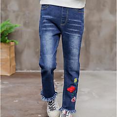 billige Jeans til piger-Børn Pige Blomstret Jeans