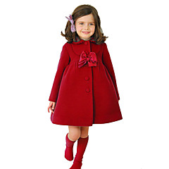 cheap Girls' Jackets & Coats-Kids Girls' Vintage / Street chic Christmas / Daily / School Solid Colored Bow Long Sleeve Regular Cotton / Polyester Jacket & Coat Blue