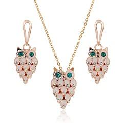 baratos Conjuntos de Bijuteria-Mulheres Clássico Conjunto de jóias - Coruja Estiloso Incluir Brincos Compridos Colar Dourado Para Diário