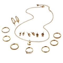 baratos Conjuntos de Bijuteria-Mulheres Clássico Conjunto de jóias - MOON Tropical, Romântico Incluir Colar Brinco Dourado / Prata Para Para Noite Festival