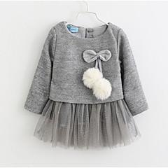 billige Babytøj-Baby Pige Basale Ensfarvet Langærmet Bomuld / Polyester Kjole Lyserød