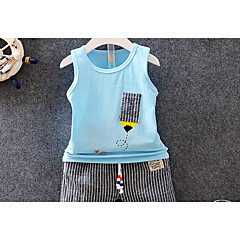 billige Babytøj-Baby Pige Ensfarvet / Trykt mønster Uden ærmer / Langærmet Tøjsæt