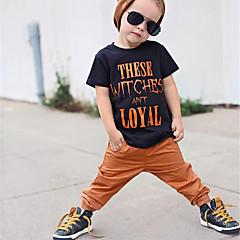 baratos Roupas de Meninas-bebê Para Meninos Estampado Manga Curta Camiseta