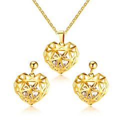 baratos Conjuntos de Bijuteria-Mulheres Zircônia cúbica Conjunto de jóias - Aço Titânio Coração Romântico Incluir Colar Brinco Dourado Para Presente