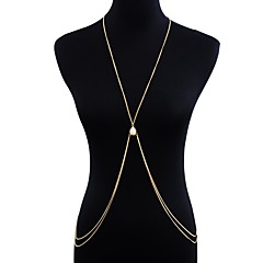 baratos Bijoux de Corps-Longas Cadeia corpo / Cadeia de barriga Criativo Europeu, Tropical, Na moda Mulheres Dourado / Prata Bijuteria de Corpo Para Bandagem / Bikini