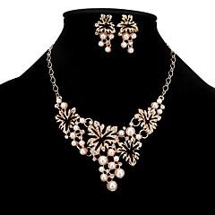 baratos Conjuntos de Bijuteria-Mulheres Conjunto de jóias - Imitação de Pérola Estiloso, Clássico Incluir Colar Brinco Dourado Para Casamento Noivado