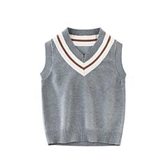 billige Sweaters og cardigans til drenge-Børn Drenge Sort og hvid Ensfarvet Uden ærmer Trøje og cardigan