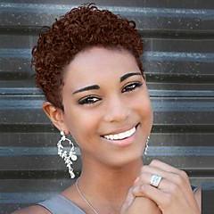 cheap Wigs & Hair Pieces-Human Hair Capless Wigs Human Hair Curly Pixie Cut African American Wig Short Machine Made Wig Women's