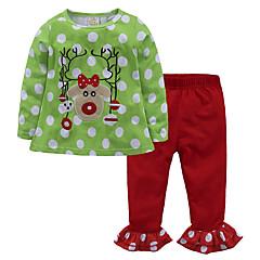billige Tøjsæt til piger-Børn / Baby Pige Prikker / Blomstret Langærmet Tøjsæt