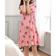 billige Moteundertøy-Dame Rund hals Sateng og silke Pyjamas - Stripet